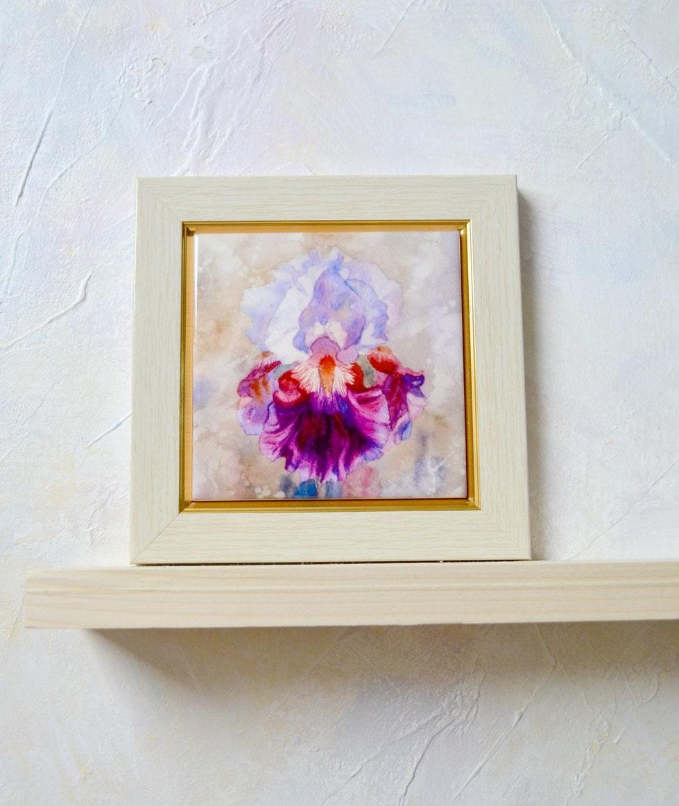 Iris amethyst hand painted ceramic tile wall art by - Hand painted ceramic tile ...