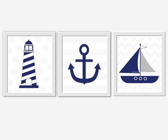Blue Anchor Wall Decor : Nautical baby nursery wall art navy blue gray grey sailboat