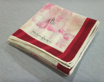 YVES SAINT LAURENT Floral Pattern Handkerchief M
