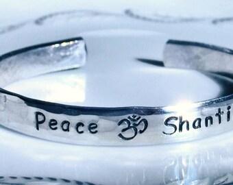 "Yoga Bracelet, Personalized Bracelet, Ripple hammered,  Engraved Bracelet, wedding gift, bridal, 1/4"", anniversary, love, yoga, Dr. Who"