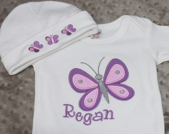 Personalized Embroidered Baby Onepiece Bodysuit and Cap - Butterfly