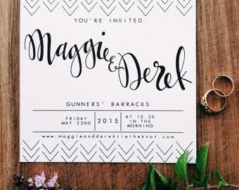 Semi- Custom Modern Calligraphy Wedding Invitation & RSVP