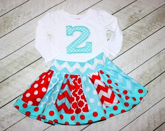 birthday outfit birthday skirt set chevron skirt number applique top aqua red chevron and polka dot outfit embroidered shirt girl