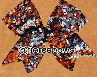 Orange and Silver Reversible Sequin Cheer Bow
