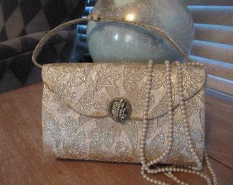 1950's Gold Brocade Evening Bag/Purse/Handbag