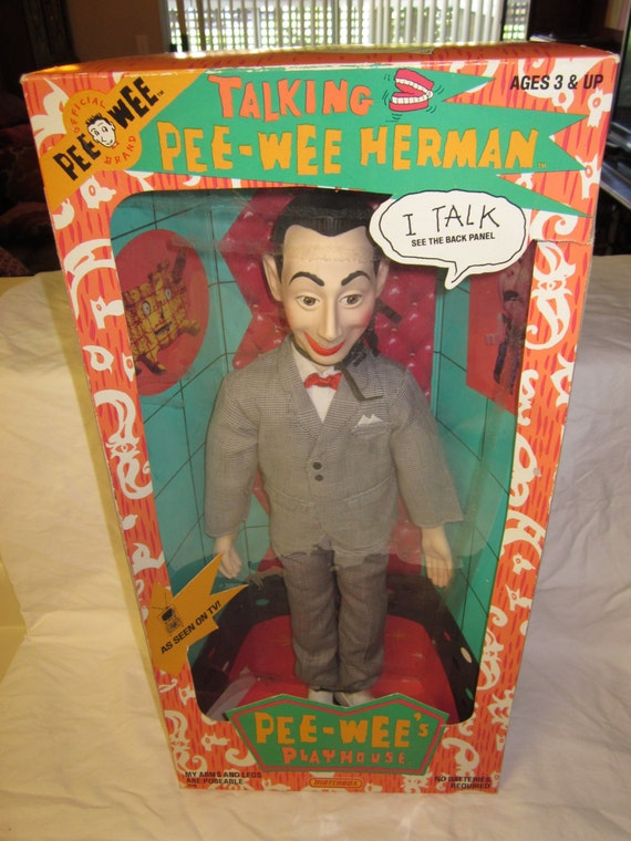 vintage 1980s talking pee wee herman doll with box. Black Bedroom Furniture Sets. Home Design Ideas