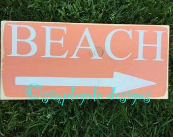 Beach Sign, Hand Painted Wood Sign, Shabby Chic, Ocean Theme, Home Decor