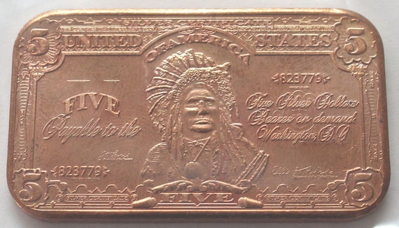 5 Dollars 1899 Series Indian Chief Silver Certificate 1 Avdp