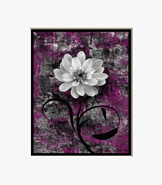 purple gray wall art rustic floral home decor by
