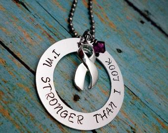 Purple Ribbon Necklace, Epilepsy,Chiari Malformation,Hodgkins Disease,Alzheimer's, Domestic Violence, Pancreatic Cancer, Lupus, Fibromyalgia