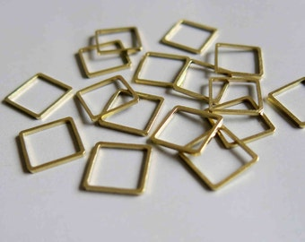 200pcs Raw Brass Square Rings , Findings 12mm  - F177