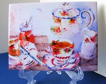 Tile of teacup painting Afternoon Tea Party