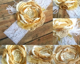 Gold & Cream Couture Singed Satin Headband or Clip.