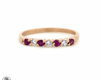 Mother's Ring, Ruby Diamond Band, Seven Stone Band, Diamond Band, Ruby Band, July Band, Stackable Ring, July Birthstone, LDR02248