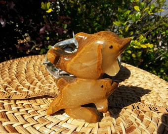 Pakistani Onyx Dolphin Pair ~ One Large Reiki Infused gemstone dolphin pair approx 4 inches (001)