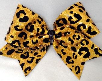 Cheer Bow - Gold Cheetah