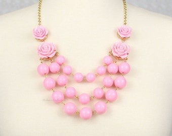 Multi Strand Rose Bubble Necklace Statement Necklace Bib Necklace Pink