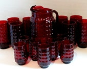 Vintage Anchor Hocking Ruby Red Provincial Bubble Pitcher with Ice Lip and 15 Glasses Set, 1960s Vintage Formal Holiday Kitchenware, Wedding
