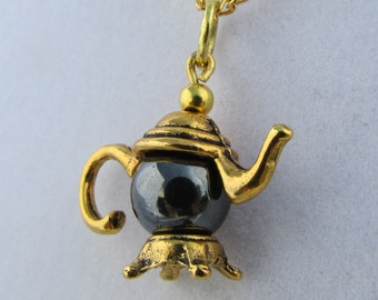 Black Onyx Gold Teapot 16in Charm Necklace (N162)