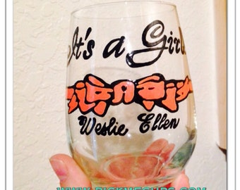 It's a girl Wine glass It's a girl champagne glass PINK- Baby Shower Gift- Baby Pregnancy Gift