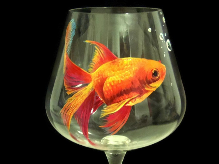 Gold fish wine glass hand painted aquarium orange pond nature for Painted glass fish