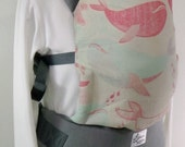 Full Buckle Baby Carrier, Gender Neutral Baby Wrap, Toddler Grey Linen SSC,Whales Baby Nursery,Plus Size Babywearing,Soft Structured Carrier
