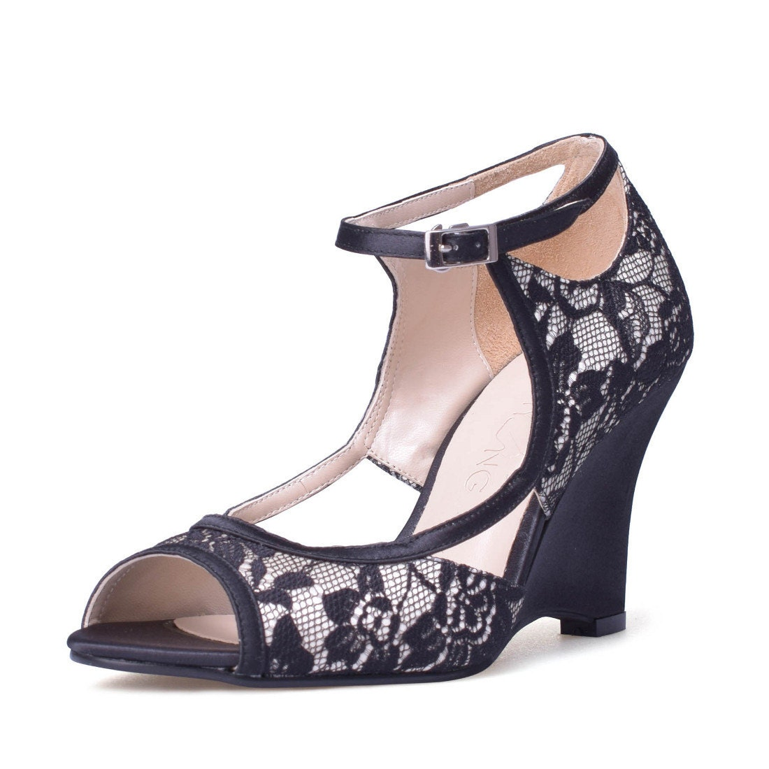isabelle black lace wedge wedding shoes black by