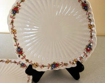 Spode square luncheon plates-Copeland-England-Hazel Dell-S 930-numbered-set of 3