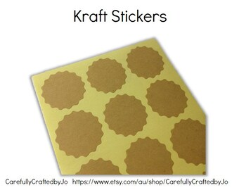 Set of 60,120,180 - Kraft Flower Plain Stickers - Kraft Sticker/ Envelope Seals