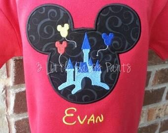 Mickey Mouse Castle Shirt- Mickey Shirt- Applique- Custom Disney Shirt- Vacation- Boys Custom Disney Vacation Shirt- Castle Shirt-