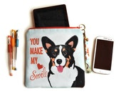 Corgi Art Padded Pouch/Clutch Bag- All You Need Is Corgi Love