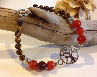 Tree of Life, Bracelet, Toggle Clasp, beads, orange abd brown, silver accents, bohemian bracelet