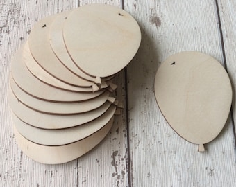 pack of 10 unpainted laser cut  balloons perfect for crafting
