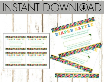 Diaper Raffle Tickets - Eric Carle - The Very Hungry Caterpillar  - DIY PRINTABLE