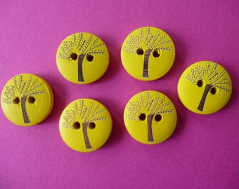 Wooden buttons with tree design.  Set of 10