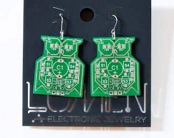 Green Circuit Board Owl Earrings.  Item 1004-20