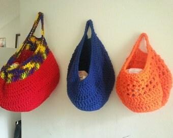 Crochet Laundry Bag : Large Gray crochet bag Laundry bag Vegetable Bag by NeidesBoutique