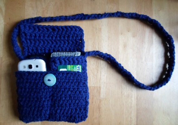 Crochet Crossbody Purse : Crochet Cross-body purse, Dark Blue purse, crossbody handbag ...