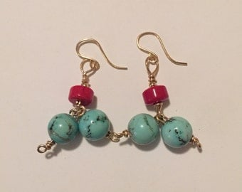 Dangling Turquoise and Rare Red Coral