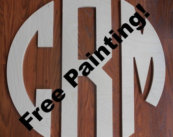 """Wooden Wall Monogram 24"""" Wood Letter Boys Room Personalized Wooden Wall Decor Unfinished Wood Monogram"""