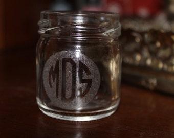 Monogrammed Mason Jar Shot Glass
