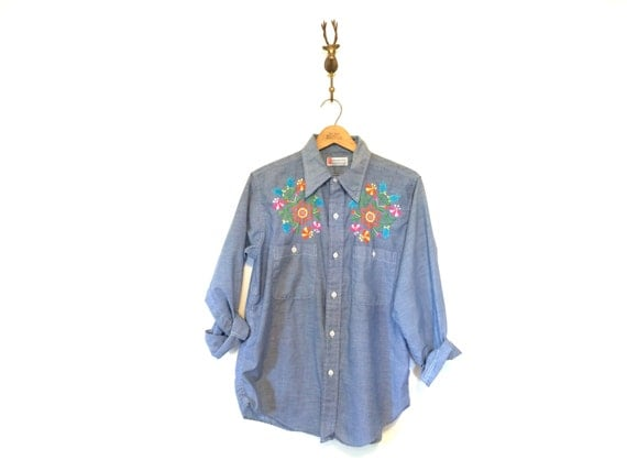 Embroidered chambray work shirt for Embroidered work shirts online