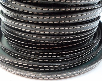 6mm Flat Black Double Stitched Flat leather for flat leather bracelets, jewelry making craft supplies, finding, leather cord,