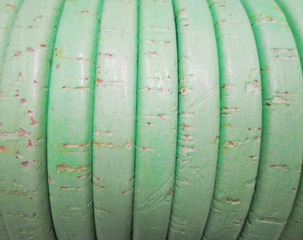 """Per 8"""" Designer Color: Portuguese Mint Green Cork Licorice Leather,"""
