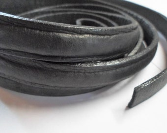 """14"""" Thick 14mm Edged Black Leather Cord"""