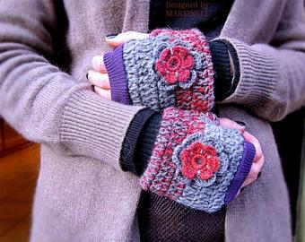 Gray and Red Crochet Gloves, Fingerless Gloves, Fingerless Mittens, Woman Arm Warmer