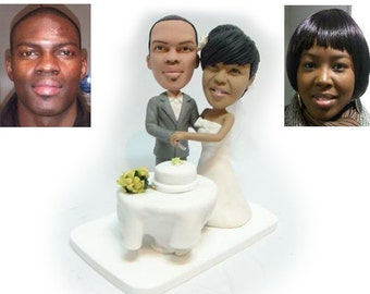 Dinning couple wedding cake topper - Personalised wedding cake topper  (Free shipping)