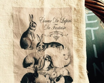 Rabbit floursack tea towel