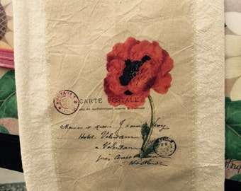 French poppy postcard floursack tea towel