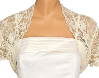 Ladies Ivory Lace Short Sleeve Bolero Shrug